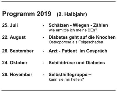 Unser Programm fürs 2. Halbjahr 2019